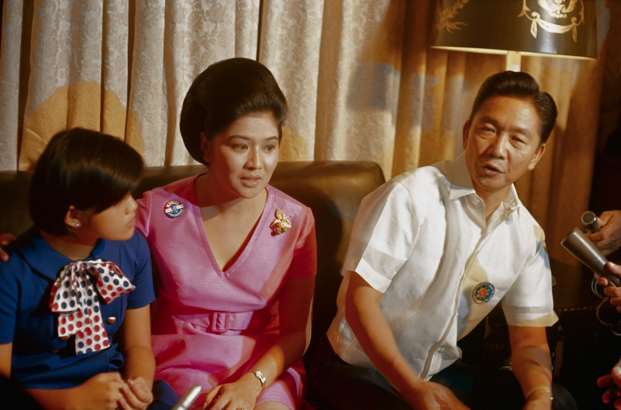 1969 Philippines President Ferdinand E. Marcos and his family are shown during interview with foreign and local newsmen at Malacanang Palace