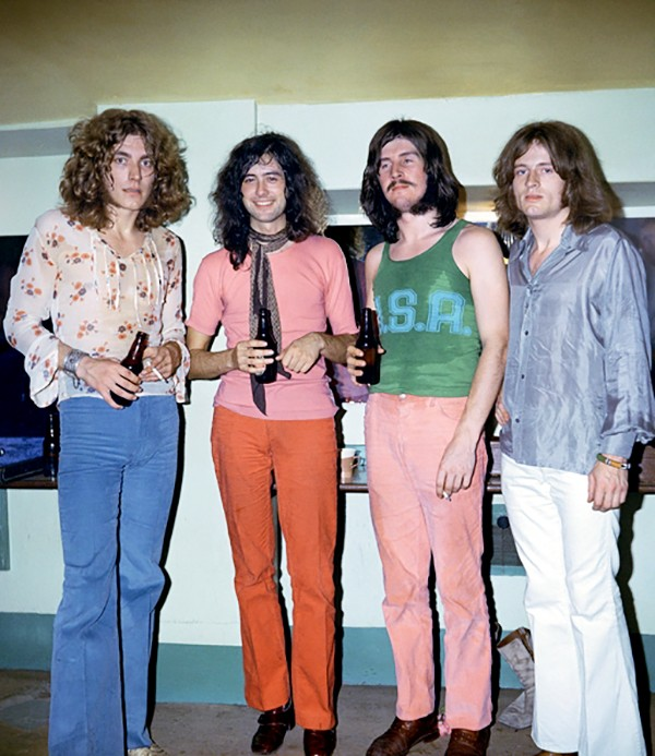 Led Zeppelin, June 1969, backstage after their first performance at the Royal Albert Hall