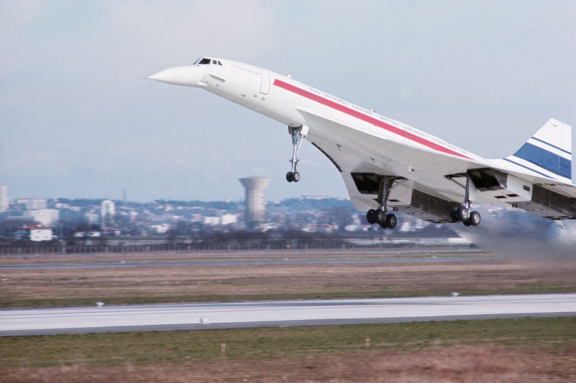 1969 Concorde takes off from a runway for its first flight by Marc Garanger