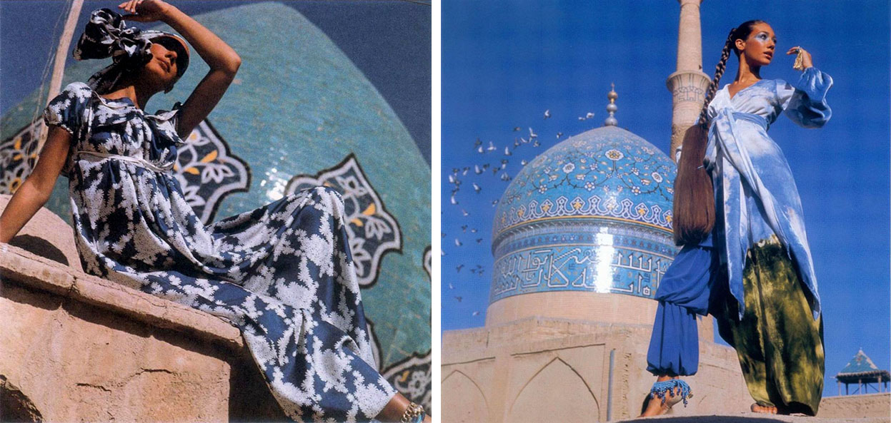 Marisa Berenson photographed by Henry Clarke wearing Geoffrey Beene and Halston in Isfahan, Iran 1969
