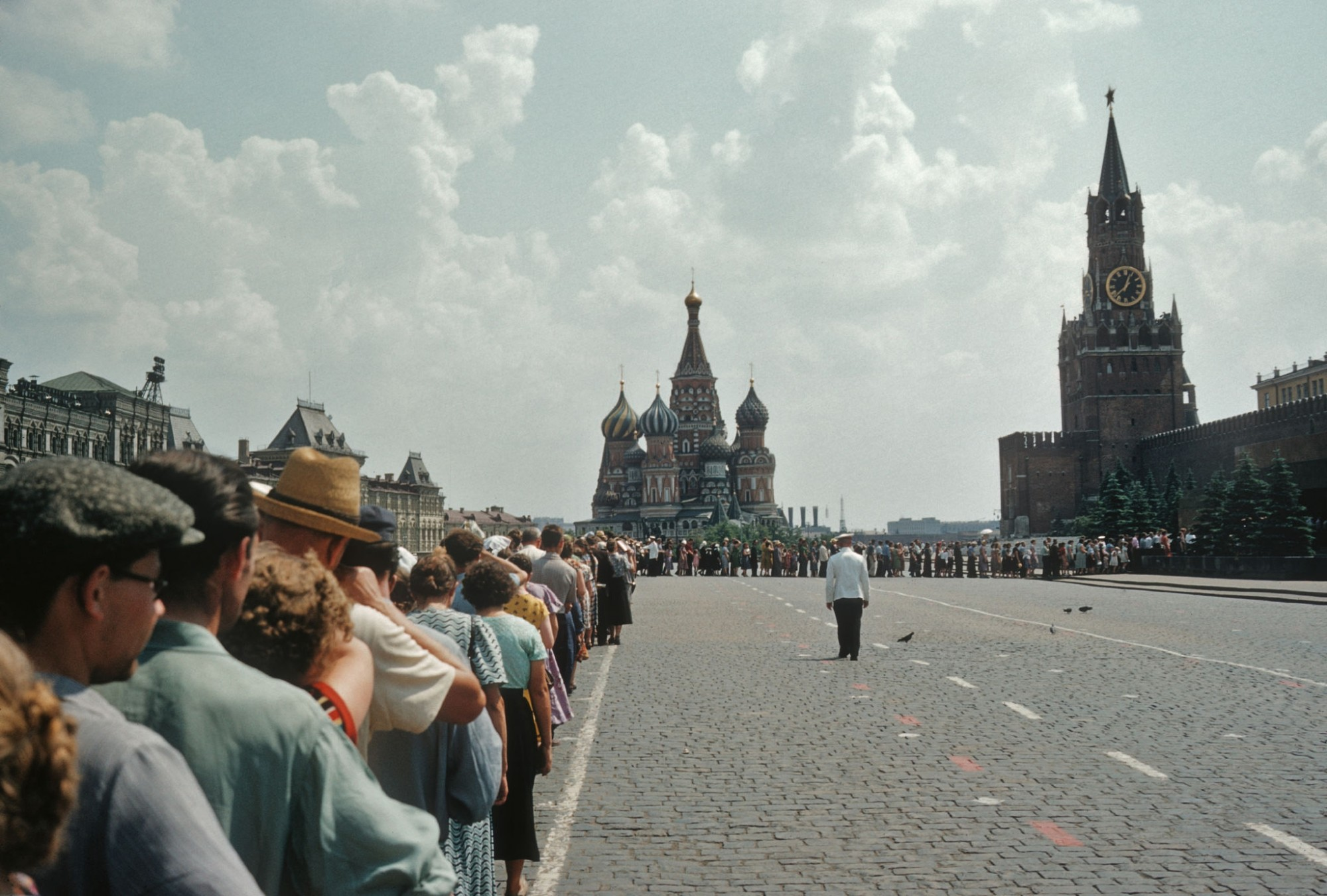 A queue of people waiting to visit Lenin's Mausoleum in Red Square, August 1969 by J. Russel Gilman