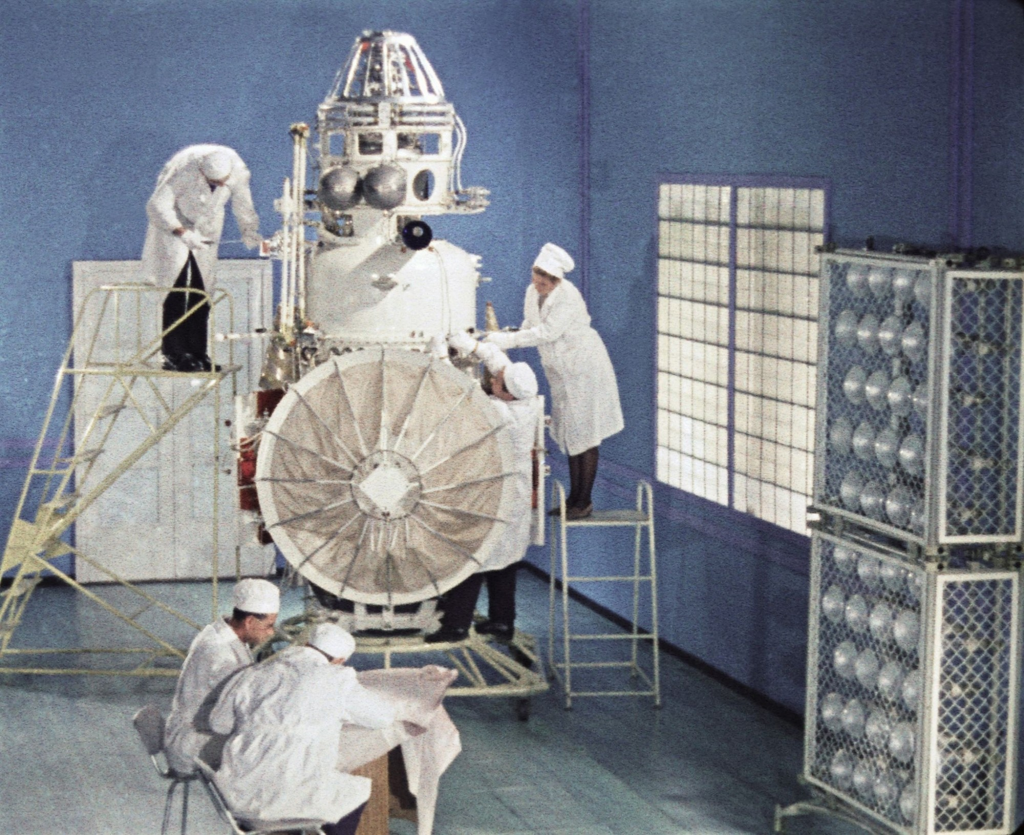 Soviet space probe venera 5 or 6 being prepared for it's launch in january 1969