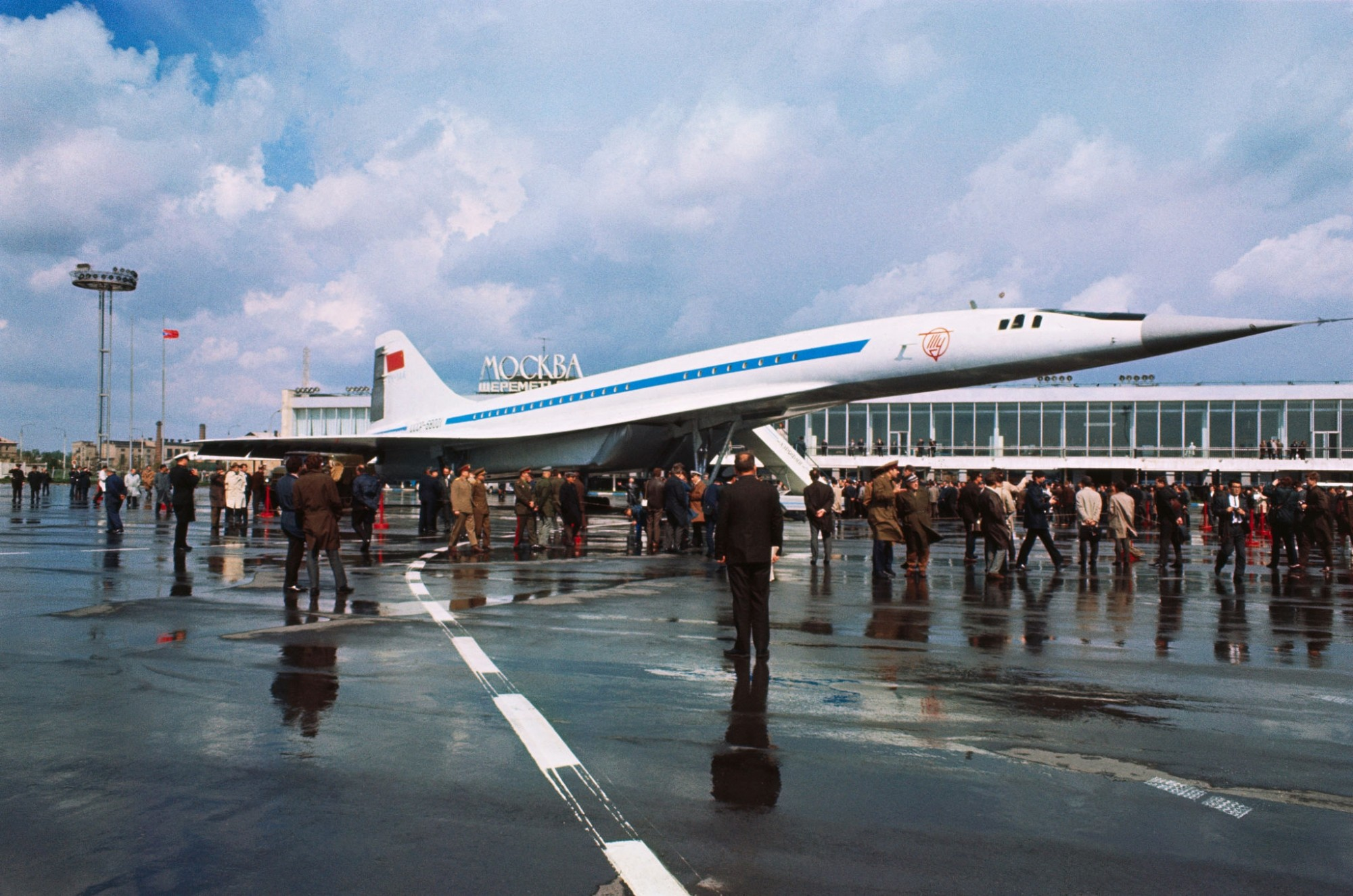 TU-144 supersonic airliner Koncorski is put on diplay for western observers for the first time at Moscow's International Airport May 21st. Russians hope to have the plane on sale in 18 months