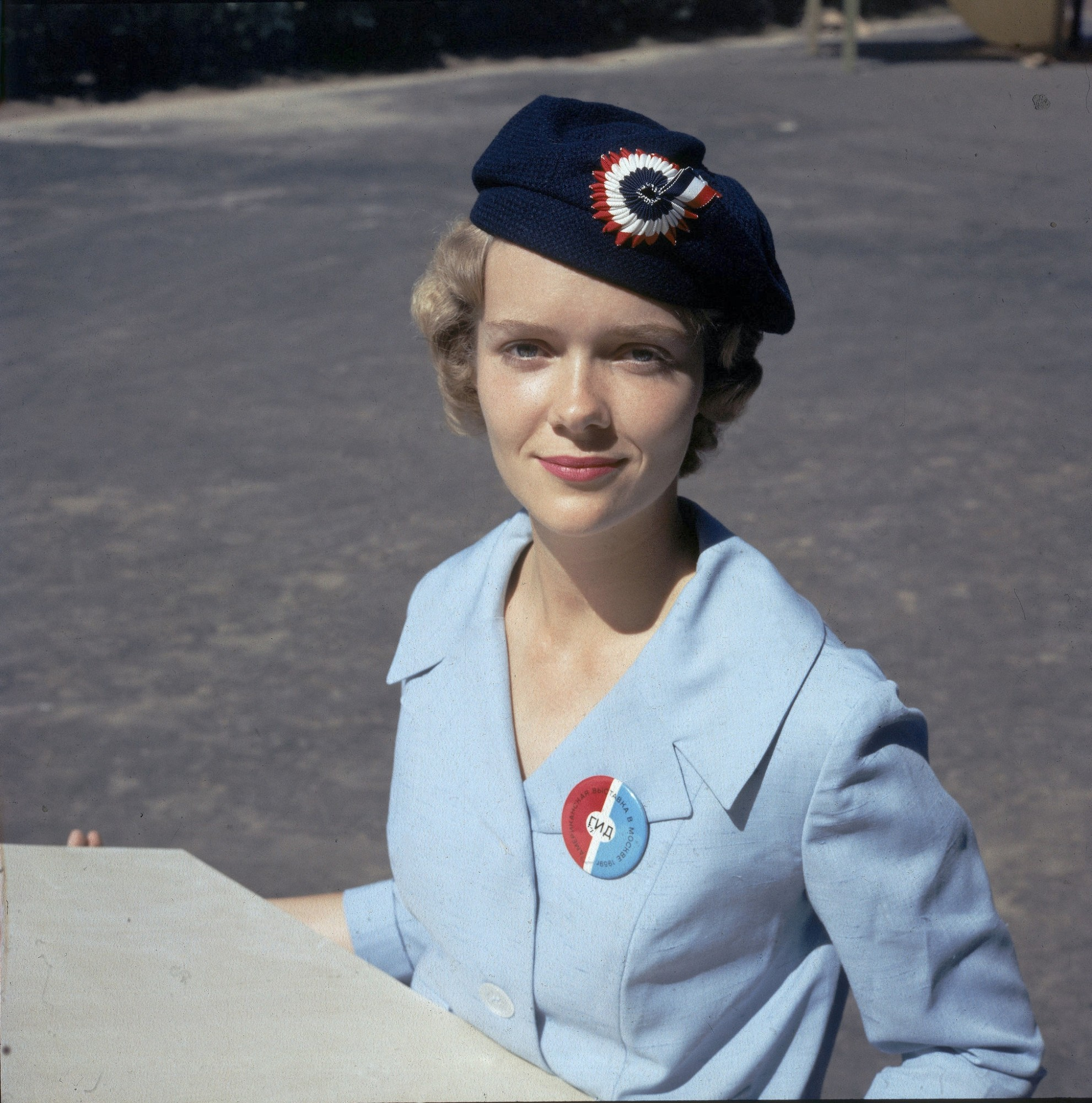 1959 Russian-speaking American Tania Akhonin, in uniform as a guide at the US Trade Fair, Sokolniki Park, Moscow