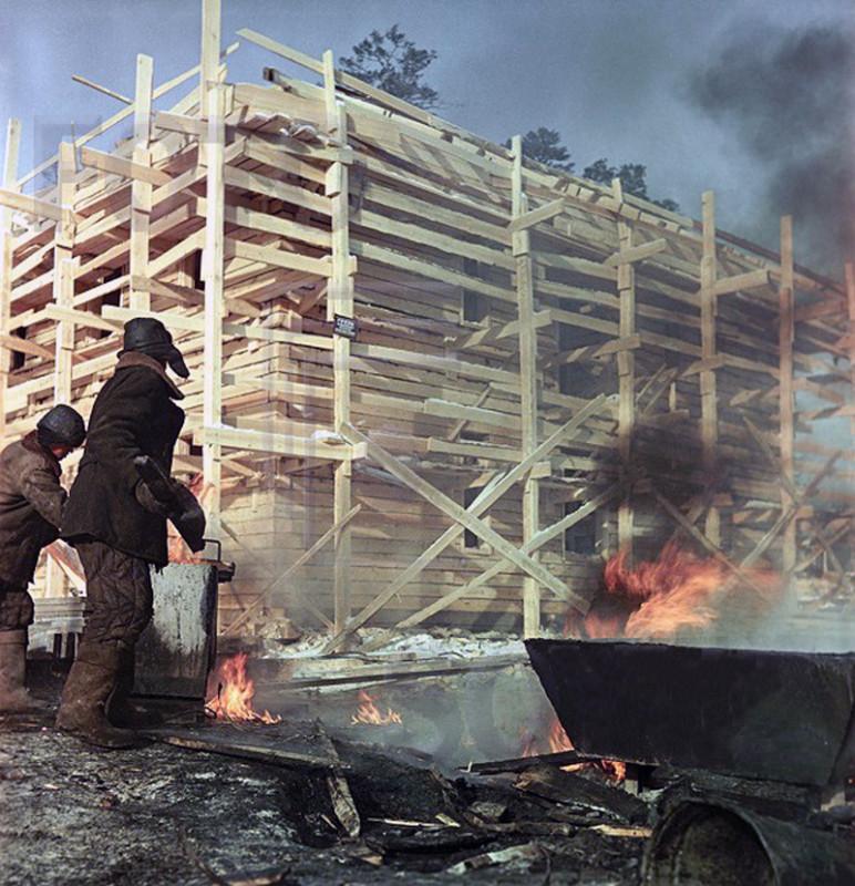 1959 Братск Строительство лесопромышленного комплекса Мороз -50 градусов