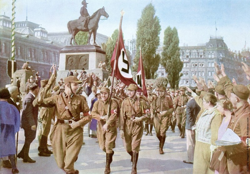 1929 German Nazi activist Horst Wessel (left) at the head of a parade of S.A. stormtroopers, in Nuremberg