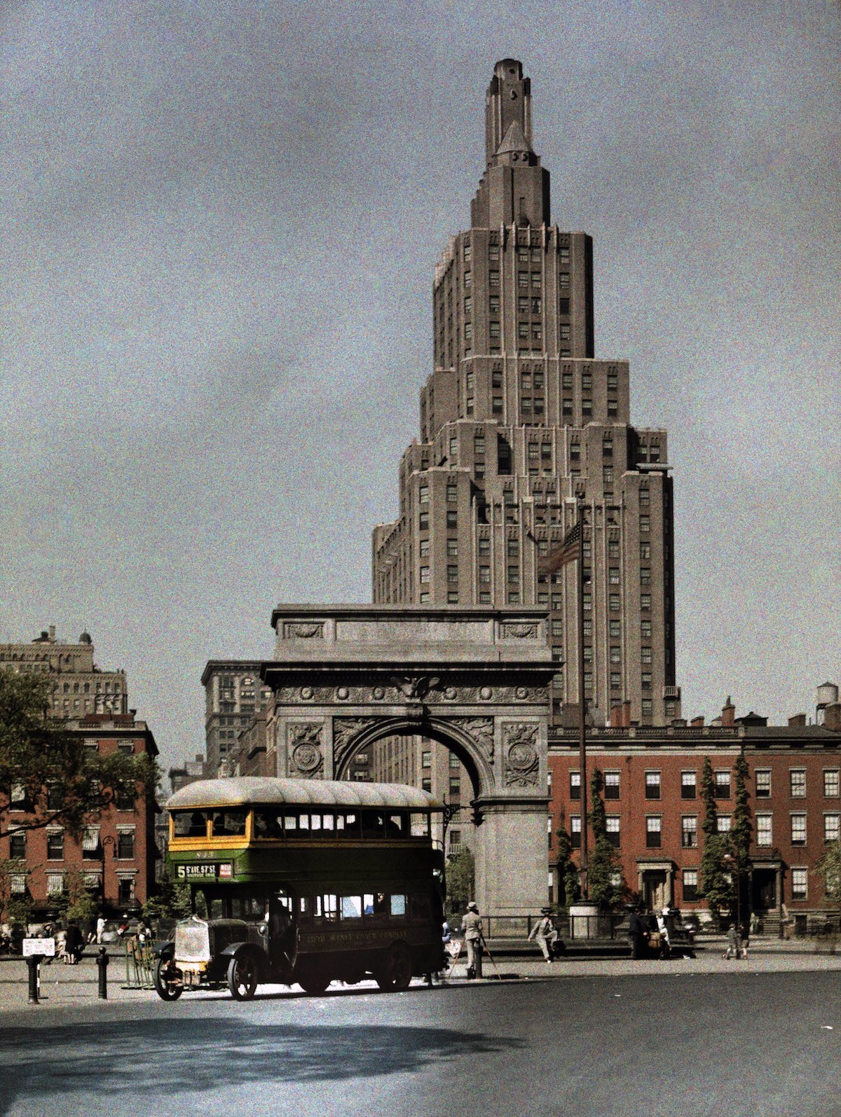 1929 New York City - A view of Washington Square at Fifth Avenue by Adams and Wisherd