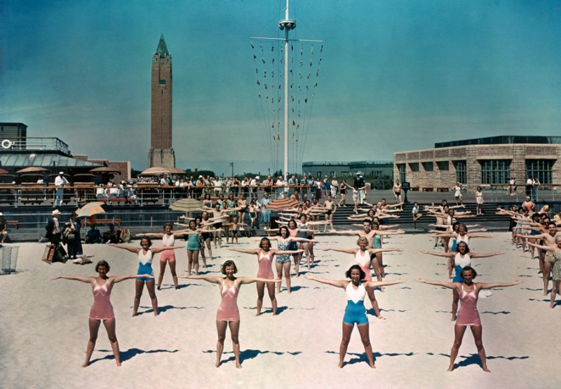 1939 NY Free calisthenics lessons are given daily for beach visitors in Long Island by Willard Culver