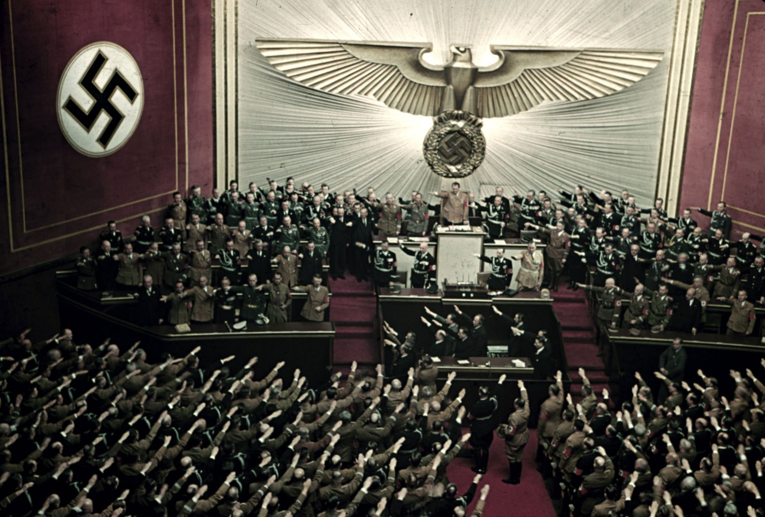1939 Adolf Hitler makes keynote address at Reichstag session Kroll Opera House Berlin