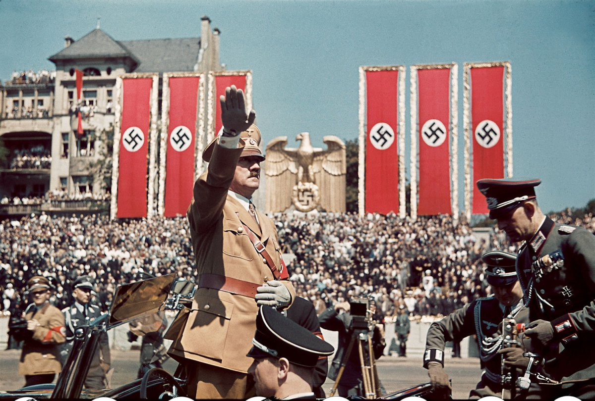 1939 Adolf Hitler salutes troops of the Condor Legion who fought alongside Spanish Nationalists in the Spanish Civil War