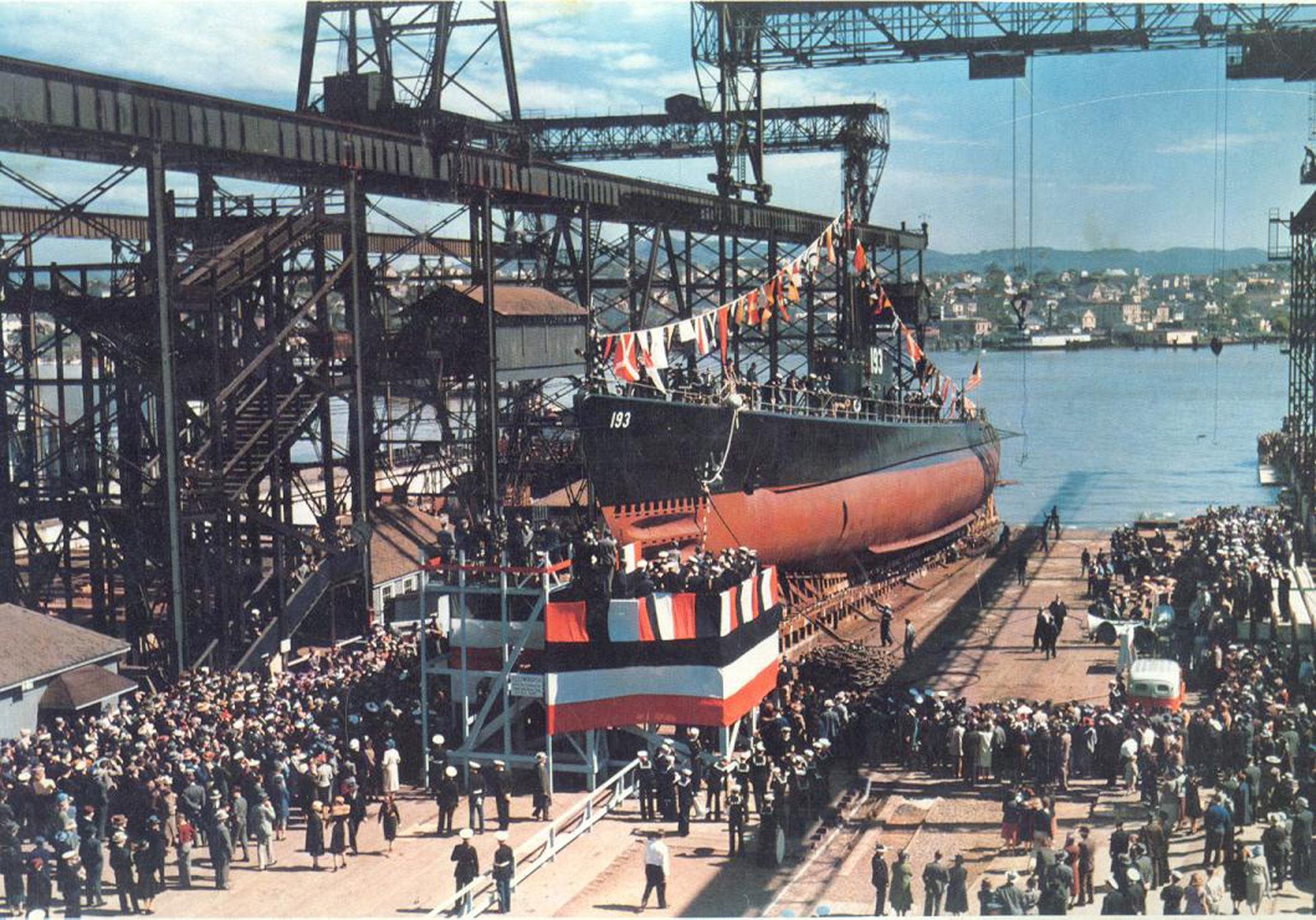 1939 Launch of Sargo-class submarine USS Swordfish (SS-193) at Mare Island Navy Yard, California on April 1st, 1939