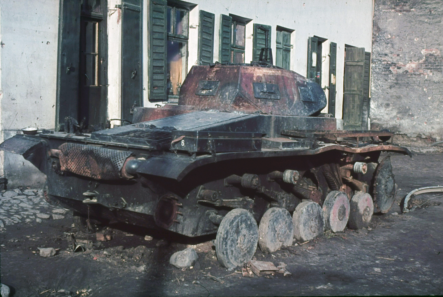 Burned-out tank, Warsaw, 1939