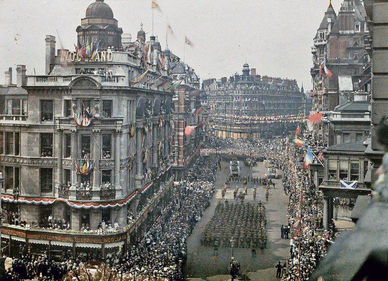 Knightsbridge, London, depicting the Great War Peace Day Parade on Saturday 19th July 1919