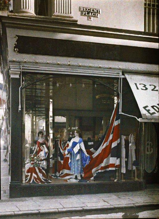 patriotic window display in London's Regent's Place is original colour, taken in July 1919