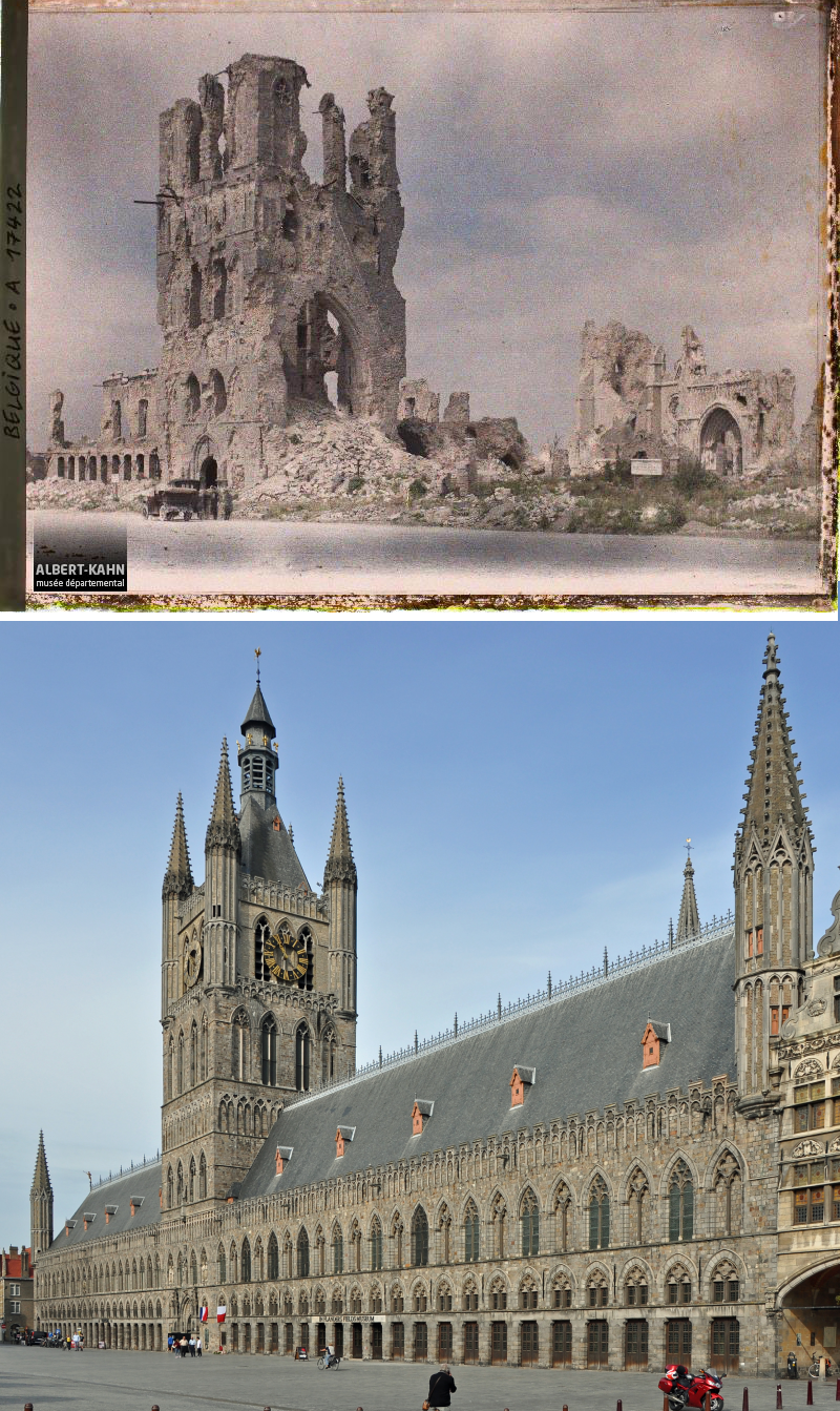 Ypres Cloth Hall, near the Belgian WWI Front Lines - August 7, 1919 VS August 2018