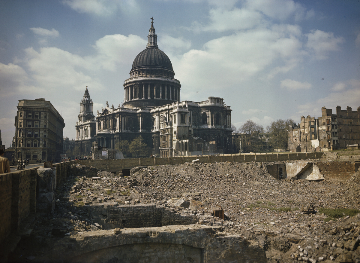 1944с View of St Paul's Cathedral and the bomb damaged areas surrounding it in London.