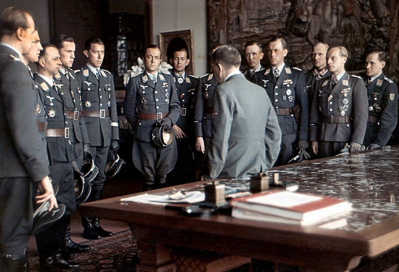 Adolf Hitler chats with his heroes from Luftwaffe after award ceremony at Berghof Obersalzberg on 4 April 1944