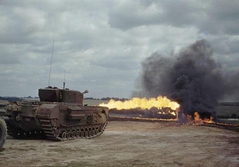Churchill Crocodile flamethrower tank in training August 1944.