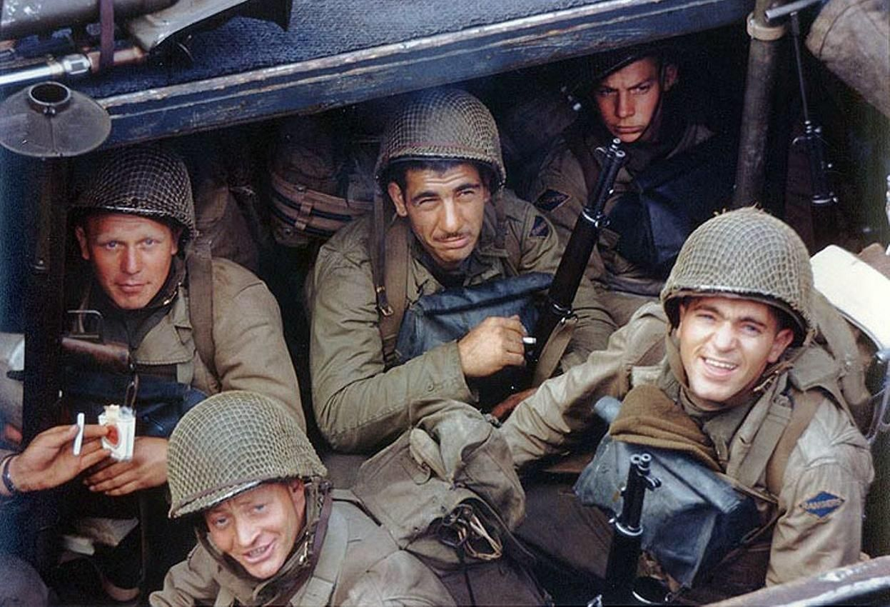 D-Day June 6 1944 E Company Fifth Ranger Battalion aboard their landing craft in Weymouth Harbor Dorset England before setting out for Omaha Beach