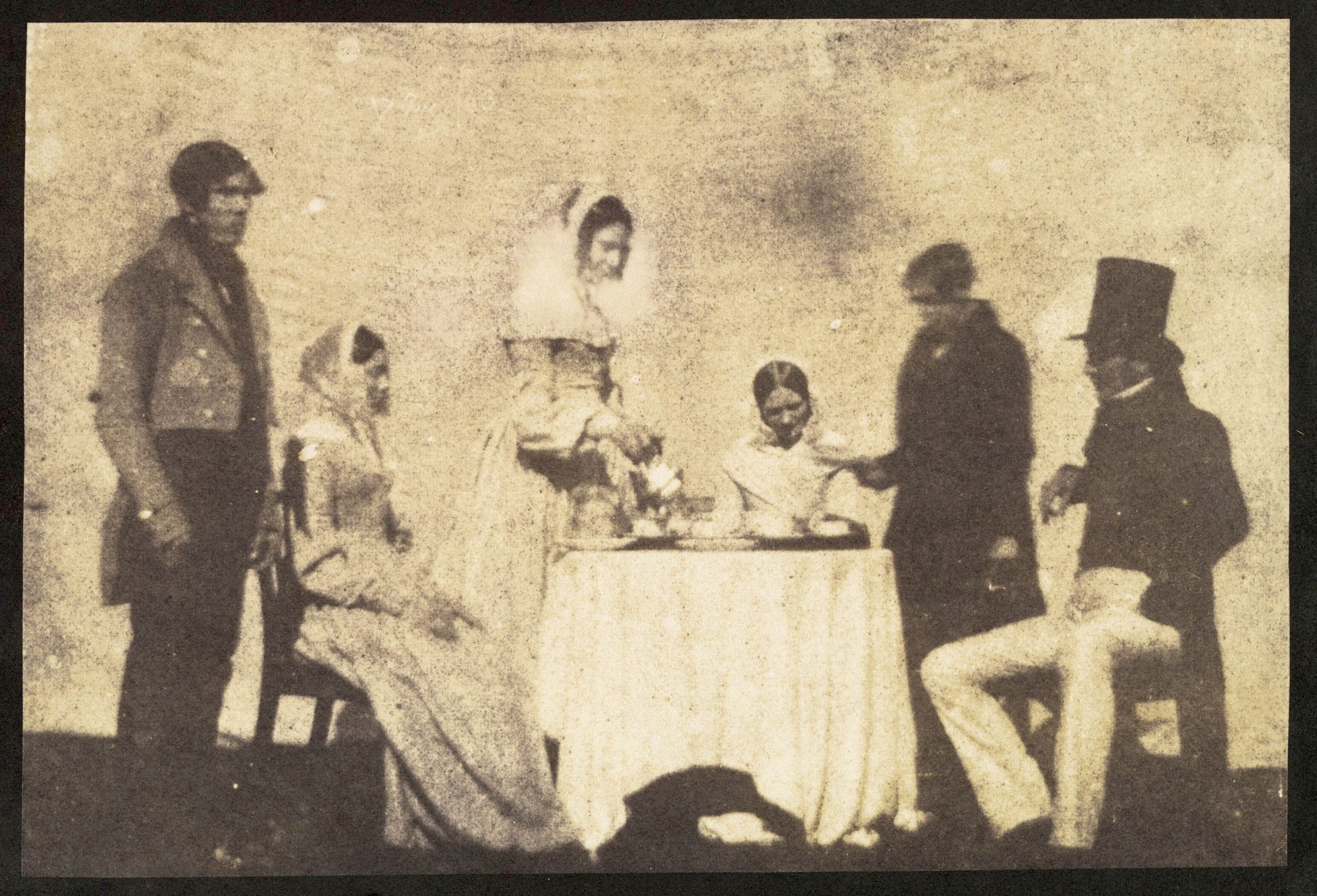 1843 'Group Taking Tea at Lacock Abbey', Wiltshire, William Fox Talbot, 1843