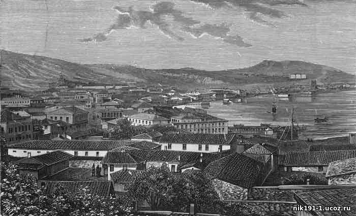 1869с Феодосия. Вид на город. Всемирная иллюстрация. № 99 (21 нояб. 1870 г.)