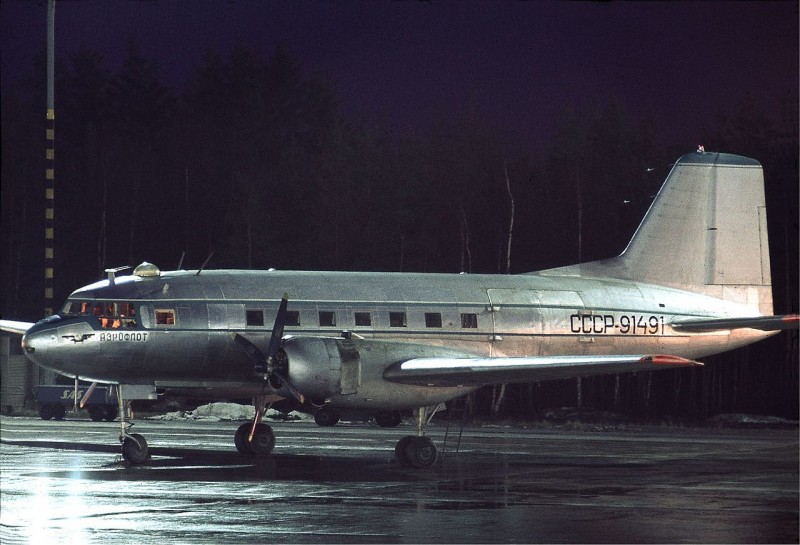 Aeroflot Ilyushin Il-14 at Arlanda, November 1970