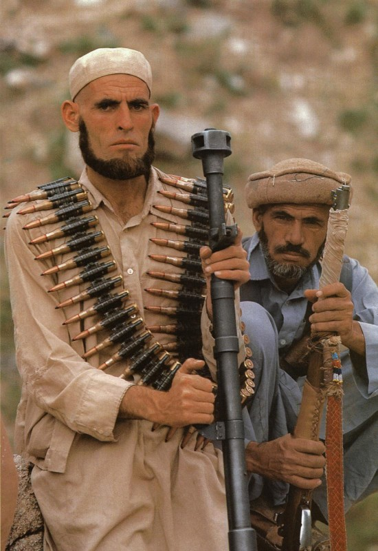 Well armed mujahedin confronting Soviet troops in Afghanistan