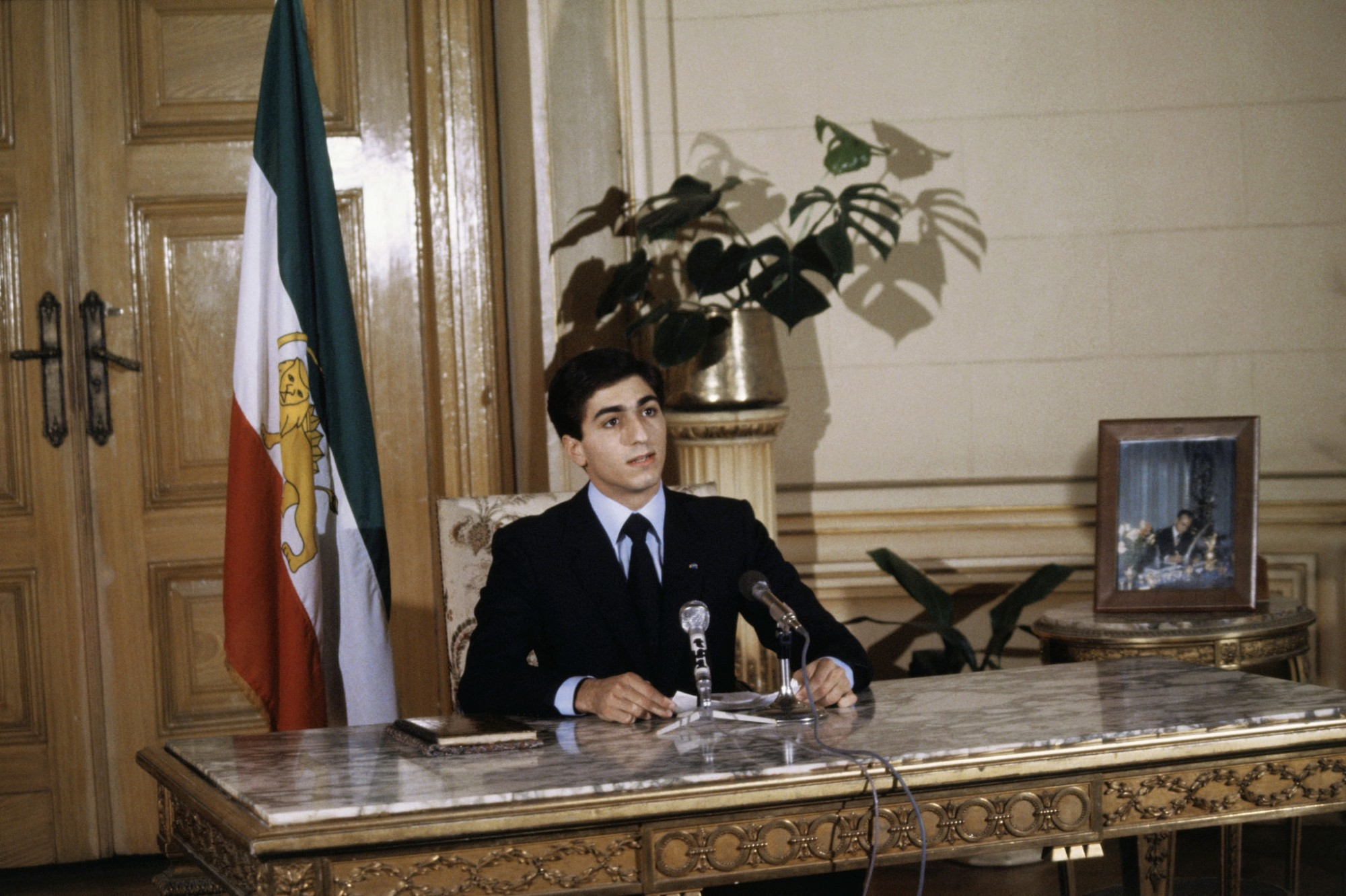 1980 Reza Pahlavi proclaiming himself the Shah of Iran. Taken in the Kubbeh Palace, Cairo