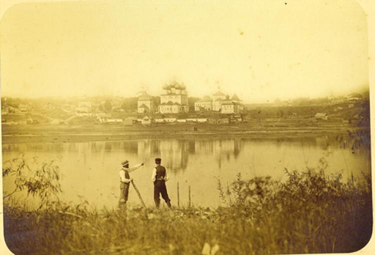 1874 Вид на Успенский Трифонов монастырь со стороны реки Вятки. Бишевский
