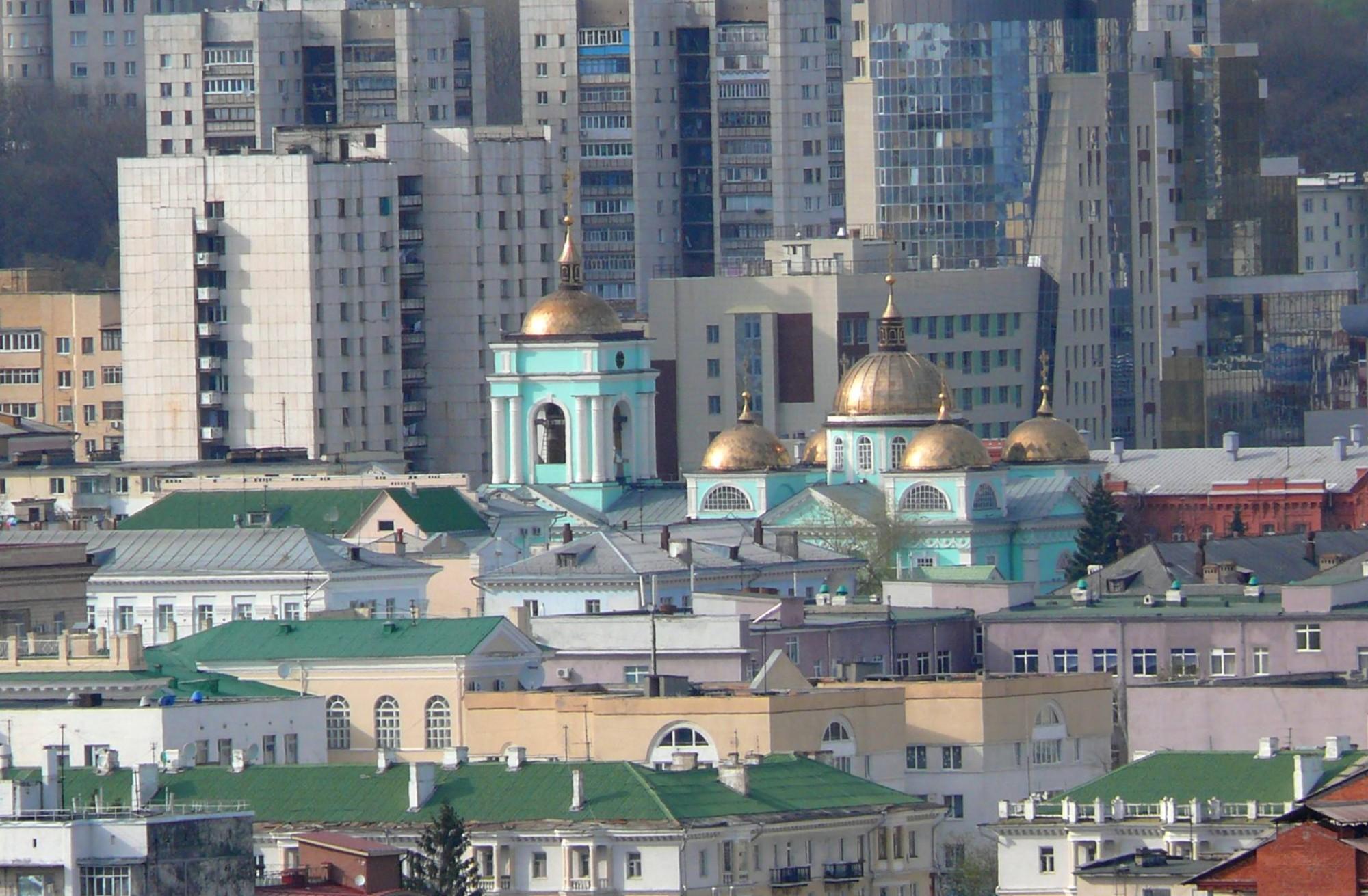 Вид на Преображенский собор со смотровой площадки на Харьковской горе, 2010 год. Фото Е.Заколодней