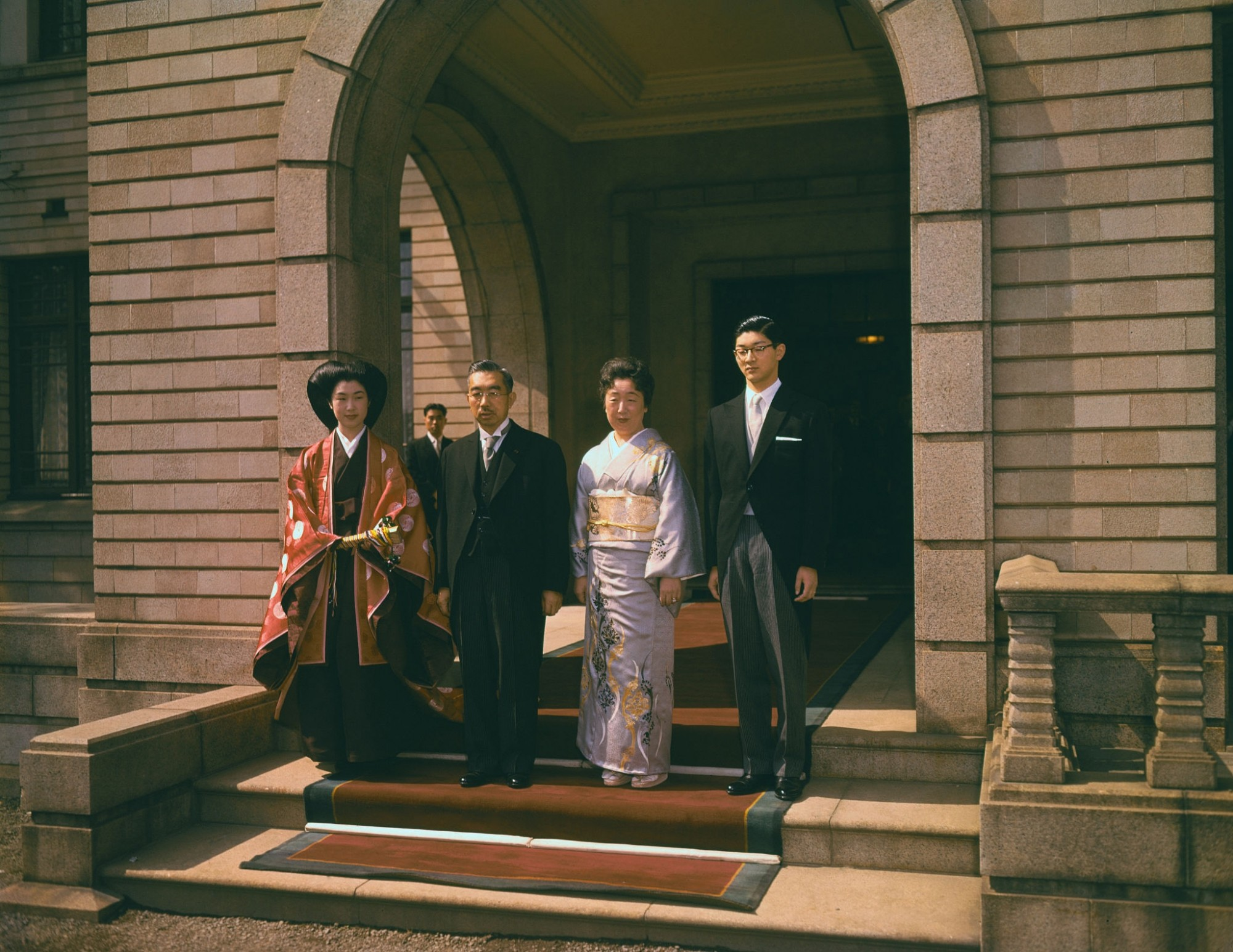 1960 after a centuries-old wedding ceremony held at the stately Korin Mansion here are, (left to right), newlywed former Princess Suga of Japan