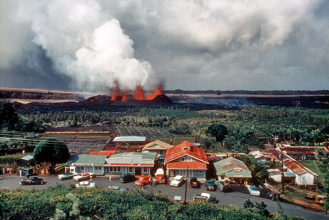 1960 Kilauea eruption near Kapoho Hawaii