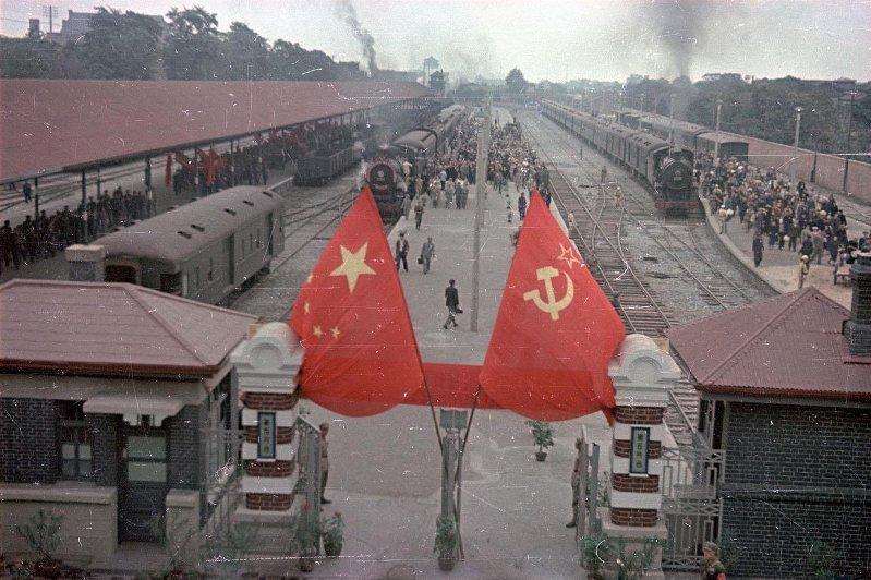 1950 Пекин. Центральный вокзал. В день приезда Советской делегации1