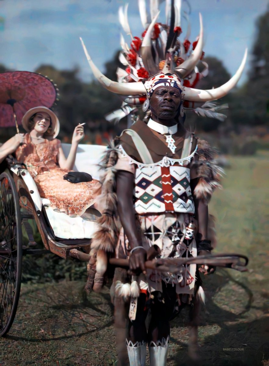 1930 Зулус-рикша за работой. Дурбан, Южно-Африканский Союз. Melville Chater3