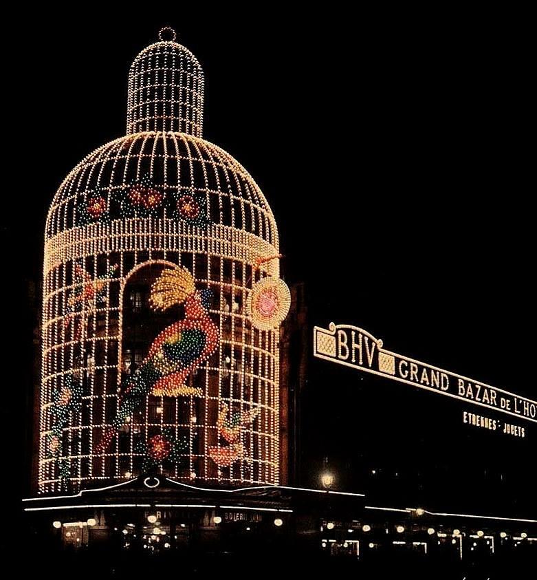 1930 Paris Le Bazar de lHotel de Ville illuminations de Noel by Leon Gimpel