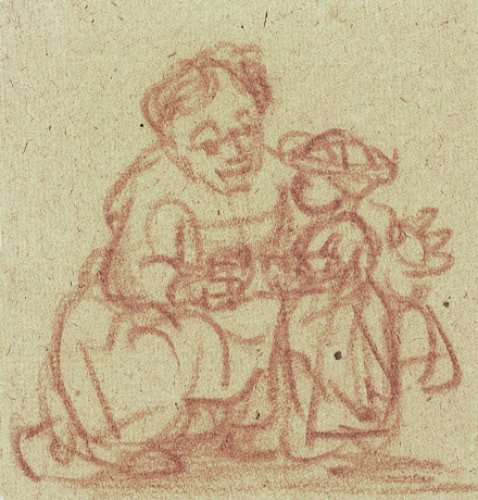 Rembrandt van Rijn_A Woman Teaching a Child to Stand