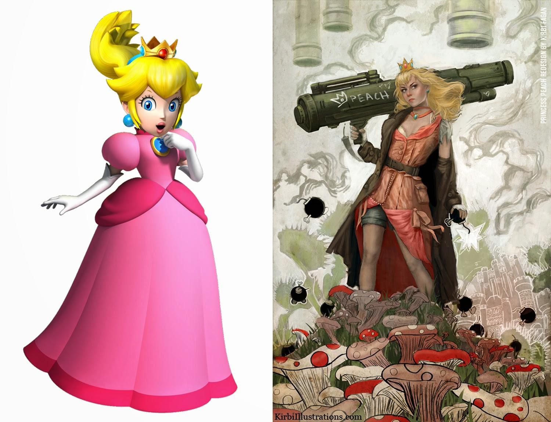 Princess Peach from Mario games Redesign by Kirbi Fagan