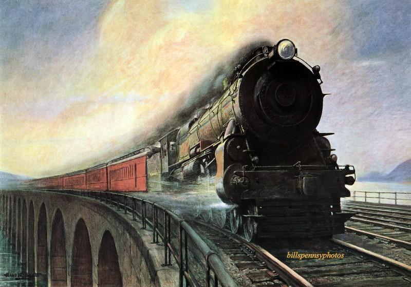 1926. Скорость и безопасность. Поезд идет на Восток, недалеко от Харрисбурга, Пенсильвания. Иллюстратор Гарольд М. Бретт.