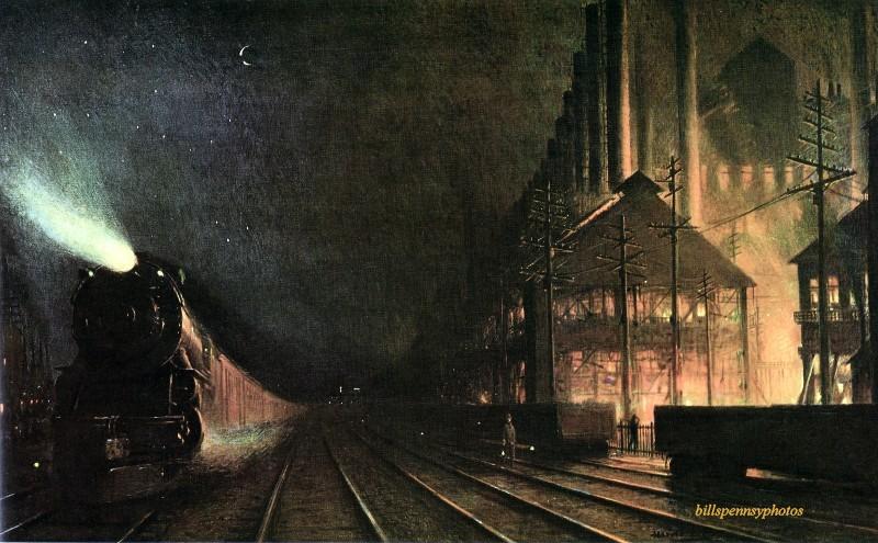 1927 год. Бродвей коммерции. Пассажирский поезд проезжает мимо сталелитейного завода ночью, район Питтсбурга. Иллюстратор Гарольд М. Бретт