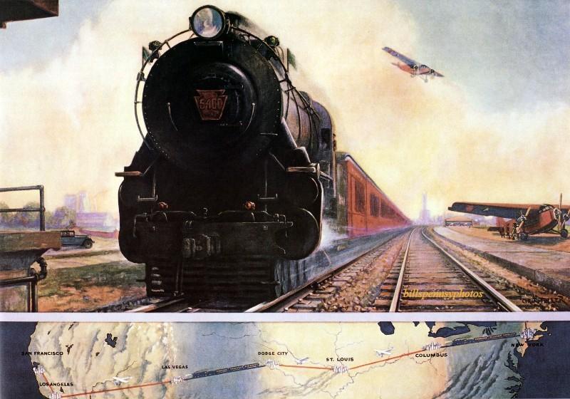 1929. Запрягание самолета в железного коня. Паровоз ведет пассажирский поезд в порт-Колумбус, штат Огайо.