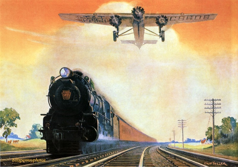1931. Гигантские покорители пространства и времени.  Паровоз и трехмоторный самолет Форда.