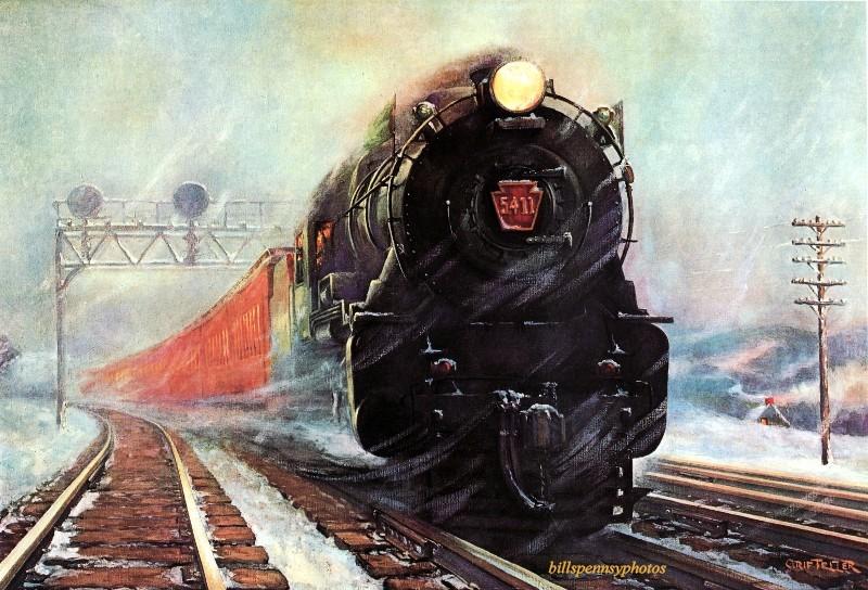 1932. Вовремя! Пассажирский поезд в пургу.