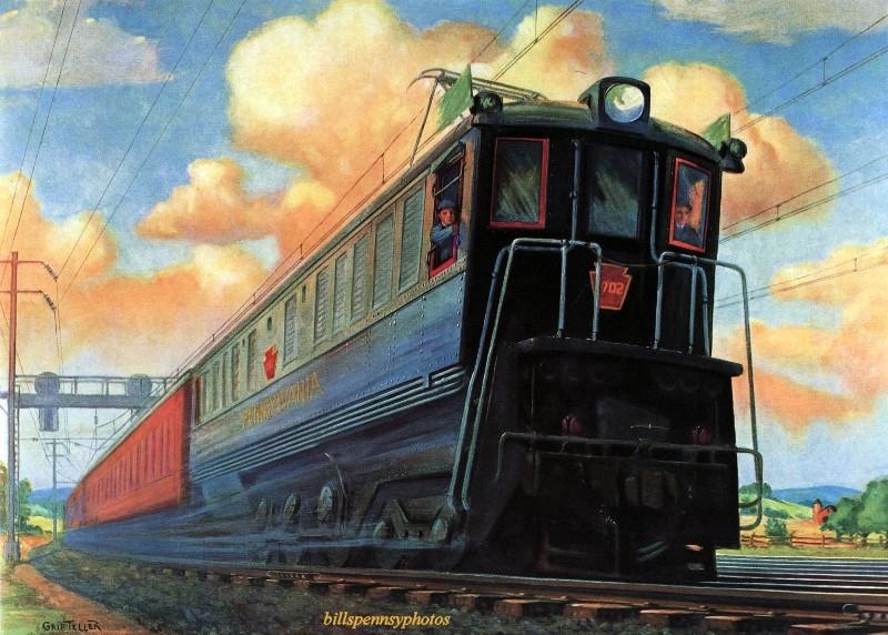 1934 год. Пассажирский электровоз Новый День между Нью-Йорком и Филадельфией.