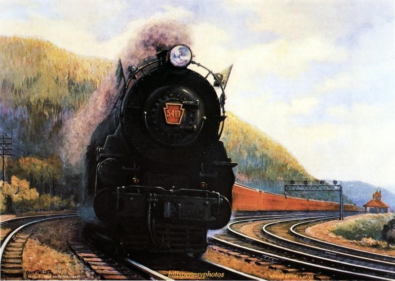 1935. Величайшее в мире шоссе. Пассажирский поезд на подковообразной кривой, недалеко от Алтуны, Пенсильвания.