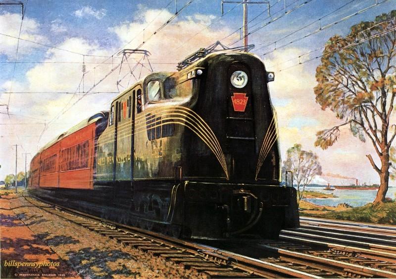1936. Скорость-безопасность-комфорт. Пассажирский поезд в Клеймонте, Делавэр.