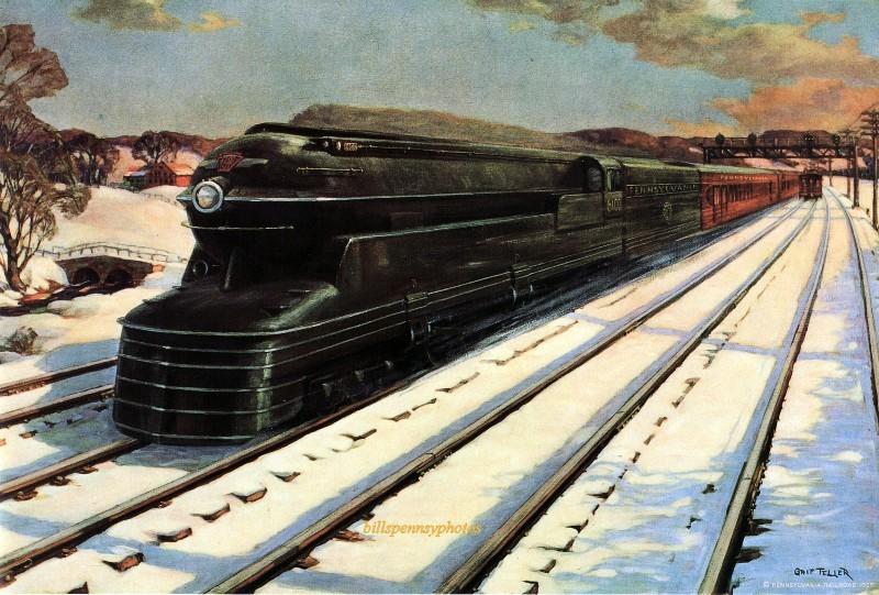1940. Служение нации. Модернизированный локомотив S1 с пассажирским поездом в заснеженной сельской местности.