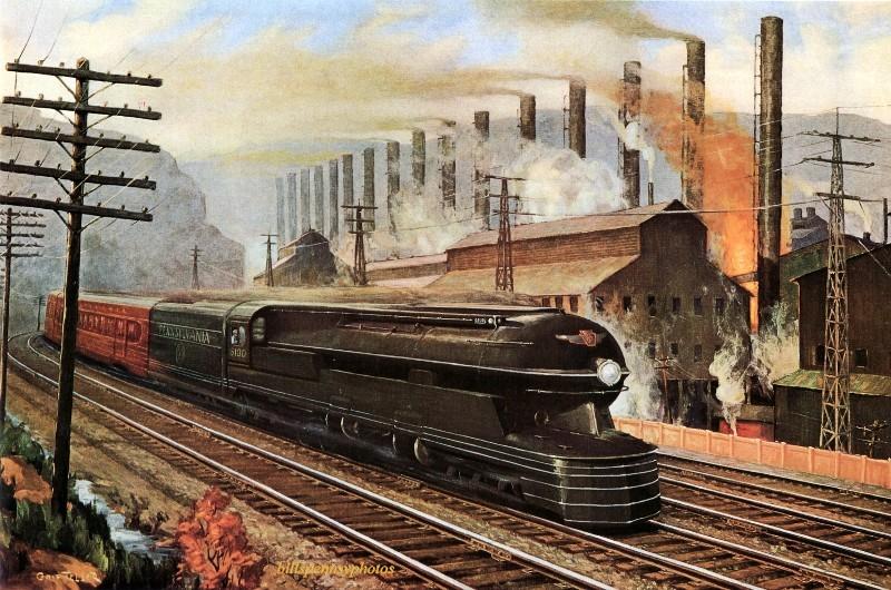 1941. Стальной король. Пассажирский поезд проходит мимо сталелитейного завода Эдгар Томсона.
