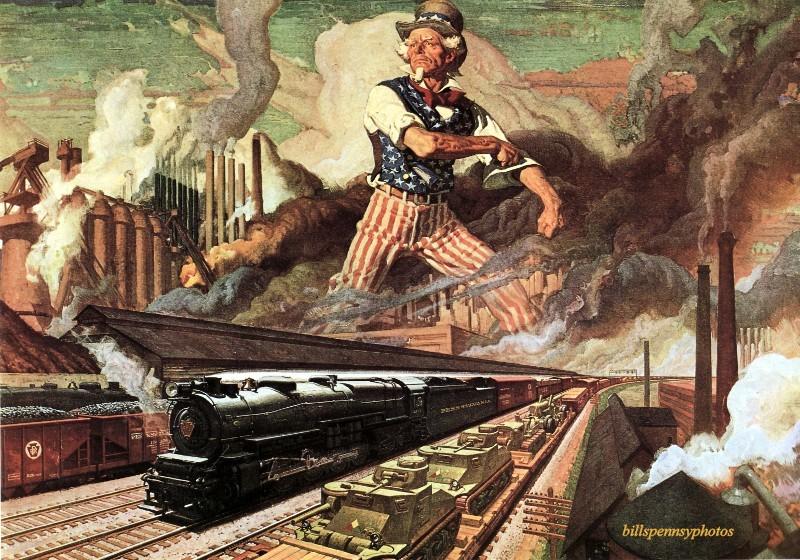 1943. Служение нации. Паровоз в индустриальной сцене с аллегорическим небом и персонажем Дядя Сэм.