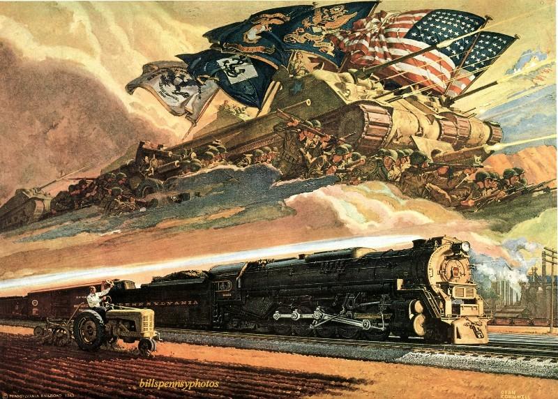 1944. Форвард паровоза на промышленной сцене с аллегорическими танками, войсками, флагами.