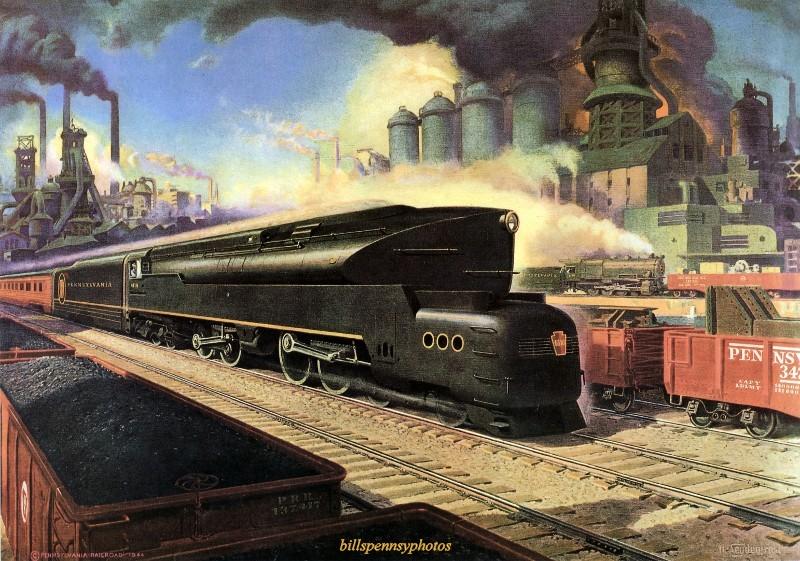 1945. Промышленная сцена с поездом.